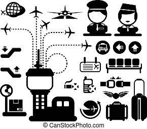 aéroport, vecteur, icône