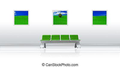 aéroport, vert, siège
