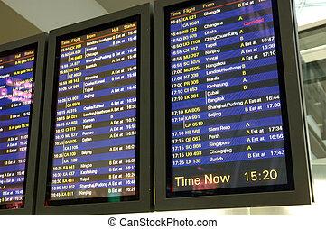 aéroport, vol, arrivée, planche