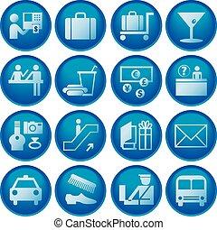 aéroport, voyage, /, icônes