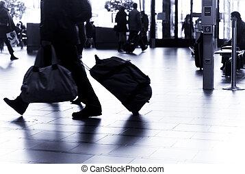 aéroport, voyager, gens