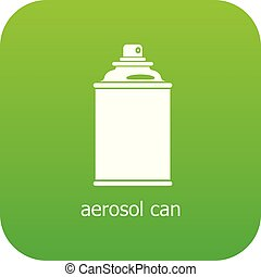 aérosol, vecteur, vert, boîte, icône