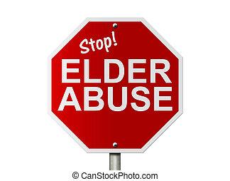 aîné, abus, stop