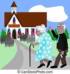 aînés, aller, église