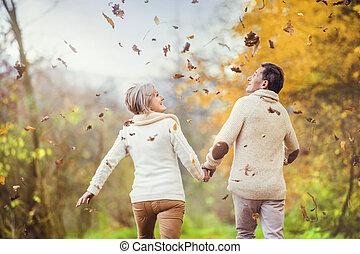 aînés, amusement, actif, avoir, nature