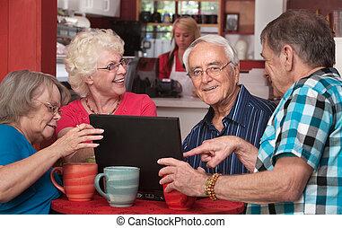 aînés, amusement, informatique, café, avoir