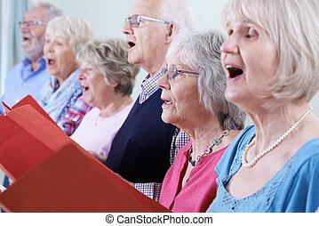 aînés, chœur, groupe, chant, ensemble