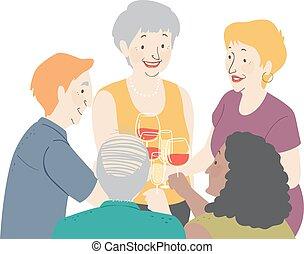 aînés, club, illustration, vin