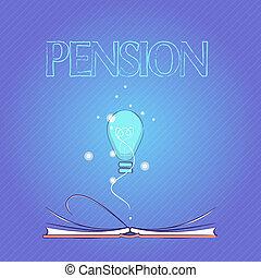 aînés, gagner, concept, mot, business, texte, après, personnes agées, écriture, pension., retraite, revenu, sauve, années