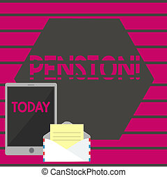 aînés, gagner, concept, texte, après, personnes agées, écriture, pension., signification, retraite, years., revenu, sauve, écriture