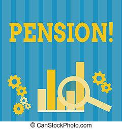 aînés, gagner, concept, texte, après, personnes agées, pension., signification, retraite, years., revenu, sauve, écriture