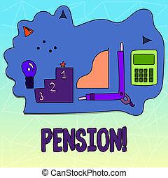 aînés, gagner, retraite, photo, texte, projection, après, personnes agées, signe, pension., years., revenu, conceptuel, sauve