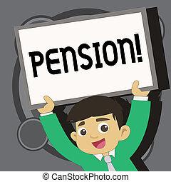 aînés, note, gagner, retraite, business, photo, projection, après, personnes agées, écriture, pension., years., revenu, showcasing, sauve