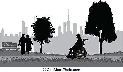 aînés, sur, promenade dans parc