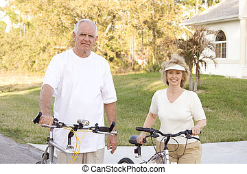 aînés, vélos, outdoors., séduisant, crise