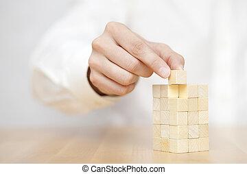 añadir, último, éxito, empresa / negocio, perdido, de madera, concept., la mano de hombre, place., bloque