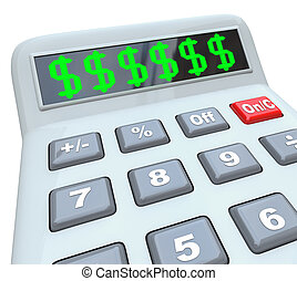 añadir, calculadora, dólar, presupuesto, costes, señales,...