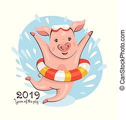 año, 2019, tarjeta de felicitación, cerdo