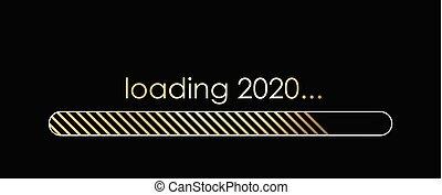 año, carga, nuevo, bandera, indicator., 2020, dorado, progreso