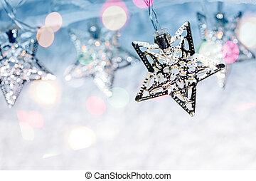 año, confuso, luces, Plano de fondo, ahorcadura, nuevo, feriado, plata
