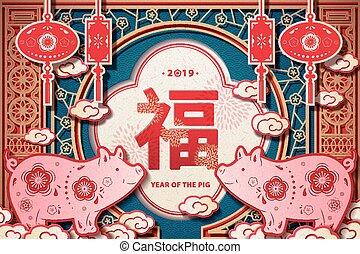 año, diseño, saludo, cerdo