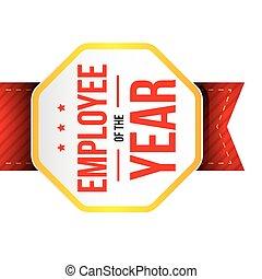 año, empleado, insignia, premio