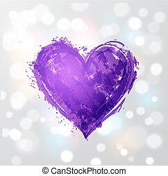 año, encendido, fondo., grande, corazón, violeta, blanco, ultra, color, grunge, 2018., púrpura
