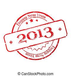 año, estampilla, nuevo, 2013