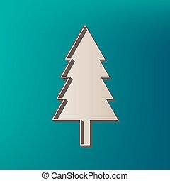 año nuevo, árbol, signo., vector., icono, impreso, en, 3d, en, mar, color, fondo.