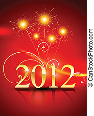 año nuevo, 2012, plano de fondo, feliz
