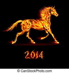 año nuevo, 2014:, fuego, horse.