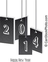 año nuevo, 2014, ilustración, hangtag
