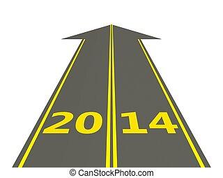 año nuevo, 2014, muestra del camino