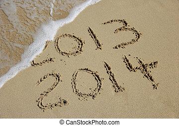 año nuevo, 2014, venida, concepto