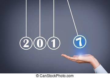 año nuevo, 2017, energía, concepto, encima, cabeza humana