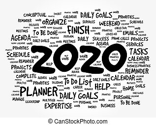 año, nuevo, 2020, palabra, nube, metas