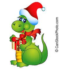 año nuevo, alegre, dragón, con, regalo