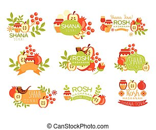 año, nuevo, brillante, judío, conjunto, postal, etiquetas