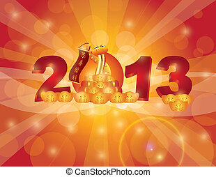 año nuevo chino, 2013, serpiente, bokeh