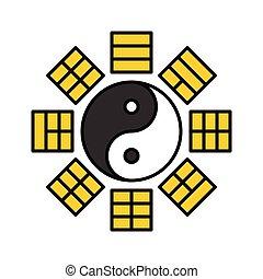 año, nuevo, chino, bagua, llenado, vector, icono
