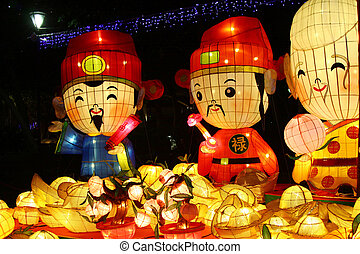 año nuevo, chino, carnaval, linterna