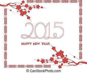 año nuevo chino, con, flor