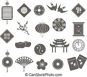 año nuevo, chino, iconos