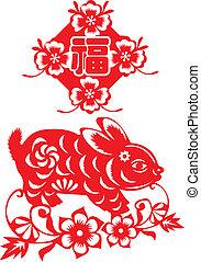 año nuevo chino, papel, corte