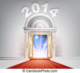 año, nuevo, concepto, puerta, 2014