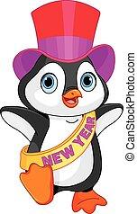 año nuevo del bebé, pingüino