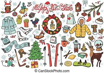 año nuevo, estación, garabato, iconos, kit