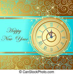 año nuevo, feliz, plano de fondo, cloc