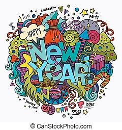 año nuevo, mano, letras, y, doodles, elementos, plano de...