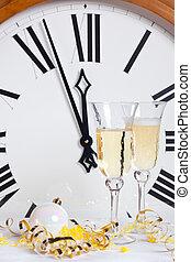 año nuevo, medianoche, eva, reloj